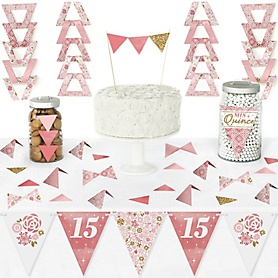 Mis Quince Anos - DIY Pennant Banner Decorations - Quinceanera Sweet 15 Birthday Party Triangle Kit - 99 Pieces