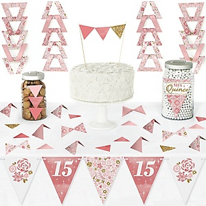 Mis Quince Anos - DIY Pennant Banner Decorations - Quinceanera Sweet 15 Triangle Kit - 99 Pieces