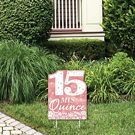 Mis Quince Anos - Outdoor Lawn Sign - Quinceanera Sweet 15 Birthday Party Yard Sign - 1 Piece
