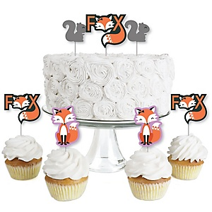 Miss Foxy Fox - Dessert Cupcake Toppers - Baby Shower or Birthday Party Clear Treat Picks - Set of 24