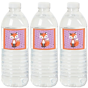 Miss Foxy Fox - Baby Shower or Birthday Party Water Bottle Sticker Labels - Set of 20