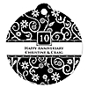 Modern Floral Black - White - Any Year - Round Personalized Anniversary Tags - 20 ct