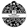 Modern Floral Black - White Cross - Round Personalized Baptism Tags - 20 ct