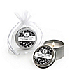 Modern Floral Black & White Cross - Personalized Baptism Candle Tin Favors