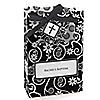 Modern Floral Black - White Cross - Personalized Baptism Favor Boxes