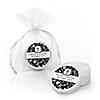 Modern Floral Black & White Cross - Personalized Baptism Lip Balm Favors