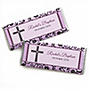 Modern Floral Wild Orchid Cross - Personalized Baptism Candy Bar Wrapper Favors
