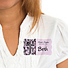 Modern Floral Wild Orchid Cross - Personalized Baptism Name Tag Stickers - 8 ct