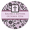 Modern Floral Wild Orchid Cross - Personalized Baptism Sticker Labels - 24 ct