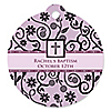Modern Floral Wild Orchid Cross - Round Personalized Baptism Tags - 20 ct