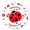 Modern Ladybug - Round Personalized Party Tags - 20 ct