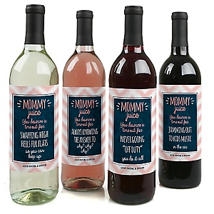 Mommy's Time-Out - Decorations for Women and Men - Wine Bottle Label Gifts for Mom - Set of 4