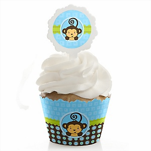Blue Monkey Boy - Cupcake Wrapper & Pick Party Kit - Set of 24