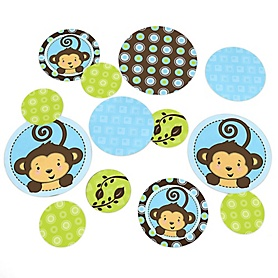 Blue Monkey Boy - Baby Shower or Birthday Party Table Confetti - 27 ct