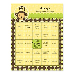 Monkey Neutral - Bingo Personalized Baby Shower Games - 16 Count