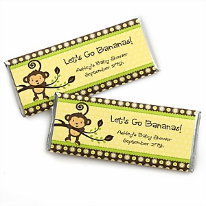 Monkey Neutral - Personalized Baby Shower Candy Bar Wrapper Favors