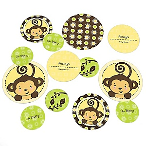 Monkey Neutral - Personalized Baby Shower Table Confetti - 27 Count