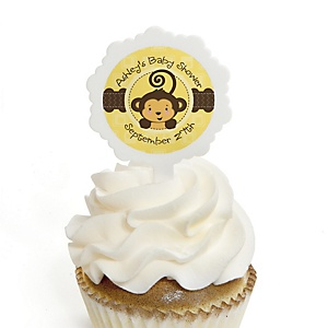 Monkey Neutral - 12 Cupcake Picks & 24 Personalized Stickers - Baby Shower Cupcake Toppers