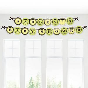 Monkey Neutral - Personalized Baby Shower Garland Letter Banners