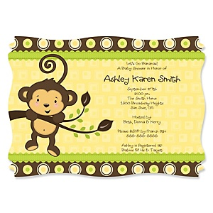 Monkey Neutral - Personalized Baby Shower Invitations