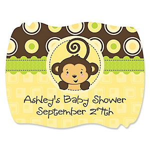 Monkey Neutral - Personalized Baby Shower Squiggle Stickers - 16 ct