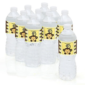 Monkey Neutral - Personalized Party Water Bottle Sticker Labels - Set of 10