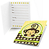 Monkey Neutral - Birthday Party Fill In Invitations - 8 ct