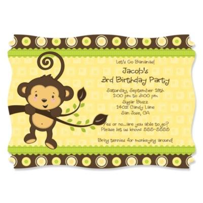 Monkey Neutral - Personalized Birthday Party Invitations