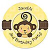 Monkey Neutral - Personalized Birthday Party Sticker Labels - 24 ct