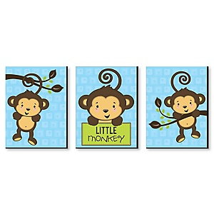 Monkey Boy - Baby Boy Nursery Wall Art & Kids Room Decor - 7.5 x 10 inches - Set of 3 Prints