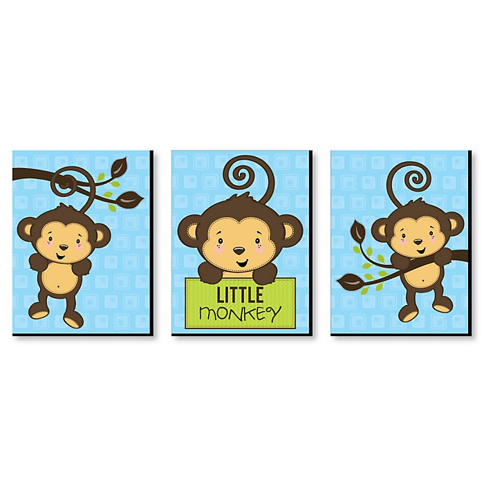 Monkey Boy - Baby Boy Nursery Wall Art & Kids Room Decor - 7.5 x 10 inches - Set of 3 Prints
