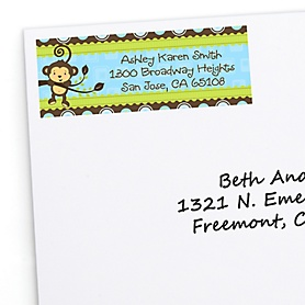 Blue Monkey Boy - Personalized Baby Shower Return Address Labels - 30 ct