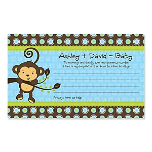 Blue Monkey Boy - Personalized Baby Shower Helpful Hint Advice Cards - 18 ct.