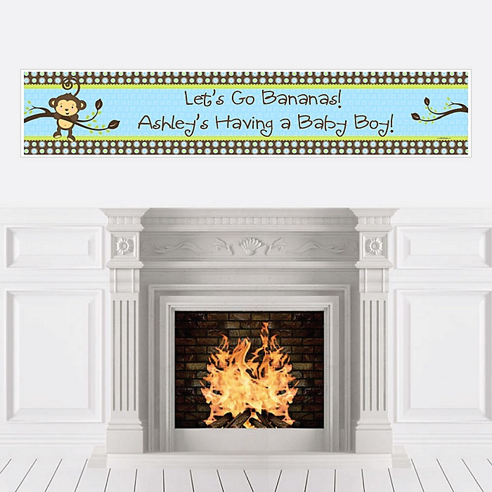 Blue Monkey Boy - Personalized Baby Shower Banners
