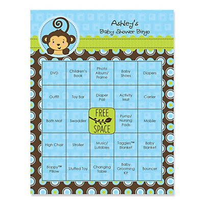 Blue Monkey Boy Personalized Baby Shower Game Bingo Cards