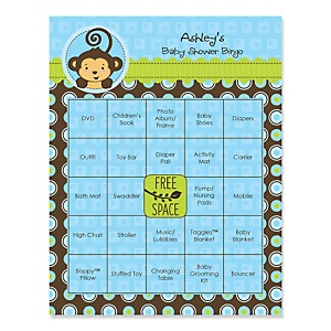 Blue Monkey Boy - Personalized Baby Shower Game Bingo Cards - 16 ct