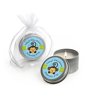 Blue Monkey Boy - Personalized Baby Shower Candle Tin Favors - Set of 12