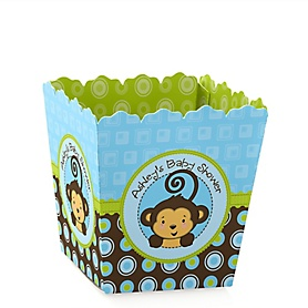 Blue Monkey Boy - Party Mini Favor Boxes - Personalized Baby Shower Treat Candy Boxes - Set of 12