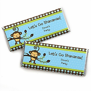Blue Monkey Boy - Personalized Baby Shower Candy Bar Wrapper Favors
