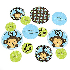 Blue Monkey Boy - Personalized Baby Shower Table Confetti - 27 ct