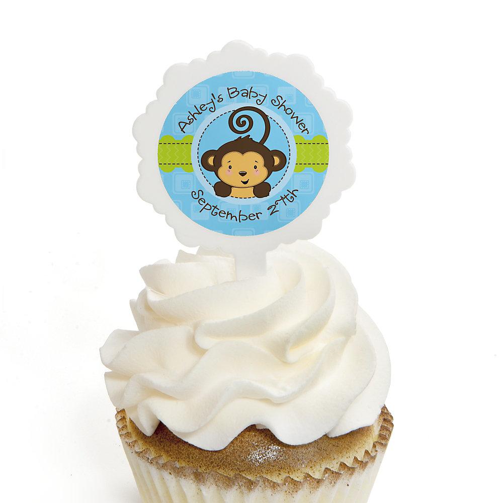 Blue Monkey Boy   12 Cupcake Picks U0026 24 Personalized Stickers   Baby Shower  Cupcake Toppers