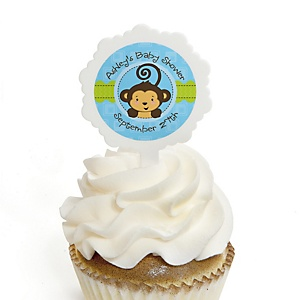 Blue Monkey Boy - 12 Cupcake Picks & 24 Personalized Stickers - Baby Shower Cupcake Toppers
