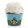 Blue Monkey Boy - Baby Shower Cupcake Wrappers & Decorations