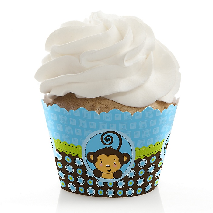 Blue Monkey Boy - Baby Shower Decorations - Party Cupcake Wrappers - Set of 12