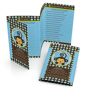 Blue Monkey Boy - Personalized Baby Shower Fabulous 5 Games