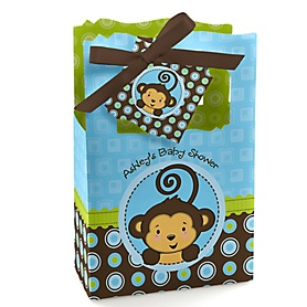 Blue Monkey Boy - Personalized Baby Shower Favor Boxes - Set of 12