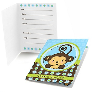 Blue Monkey Boy - Baby Shower Fill In Invitations - 8 ct