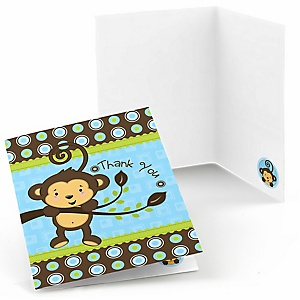 Blue Monkey Boy - Baby Shower Thank You Cards - 8 ct