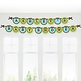 Blue Monkey Boy - Personalized Baby Shower Garland Letter Banners