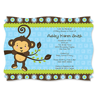 blue monkey boy personalized baby shower invitations set of 12